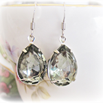 Mirah Earrings Black Diamond Smoky Glam It Up Vintage Glass Jewellery Bridal