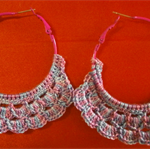 Hand crochet Multi Colour  Hoop Earrings