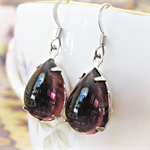 Plum Earrings Amethyst Purple Glam It Up Silver Wedding Bridal Estate Style