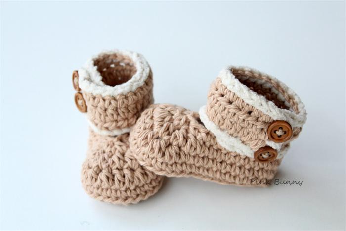 d0ba10b69e4 Crochet Baby Booties - Ugg Inspired | Pink Bunny on Madeit