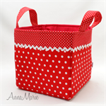 Fabric Storage Basket 'Red Polka Dots' 20cm sq