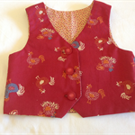 """Farmyard chickens "" fully lined vest for boys or girls."