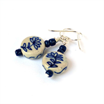 Classic Blue and White Ceramic Flower Earrings