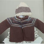 Hand Knit, Wool NB Baby Jacket Cardigan, Beanie Hat, Brown/Blue/Cream