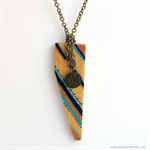 Tribal Aqua Dark blue Gold Triangle Pendant Necklace Hand painted Upcycled wood