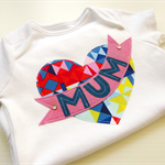 Mothers Day Geo Heart Baby and Girls Onesie Tshirt Baby Singlet