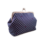 Navy Blue with white and red dots, clutch purse bag, , rockabilly pin up 1950s
