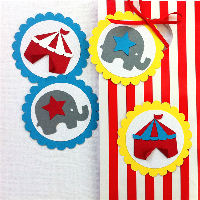 Circus Tent Elephant Gift tags u0026 scalloped embellishments for circus party baby.  sc 1 st  Madeit & Circus Tent Elephant Gift tags u0026 scalloped embellishments for ...
