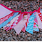 Pink and Aqua Blue Baby Bunting - Banner Flags - Girly Garland