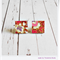 Red Pink Purple Japanese Chiyogami Paper Covered Wood Square Stud Earrings
