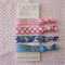 Denim and Pink Elastic Ponytail Holders - Hair Ties