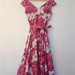 Vintage Pink Flowered Patterned Dress.