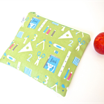 SMALL Zippered Wet Bag / Nappy Wallet / Pouch - School Supplies (Green)