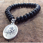 Bracelet for Mothers, Black Onyx, Saint Gerard Majella, Small Size