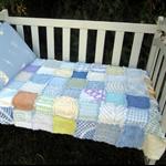 OOAK Vintage Chenille Rag Patchwork Quilt