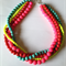 Bright Bead Yellow Pink Red Turquoise Multi strand Necklace