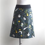 Aline skirt green cats, mice print, stretch waist, Wanderlust Women