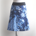 Aline skirt blue peacock print, stretch waist, Wanderlust Women