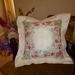 Sweet Pea machine embroidered cushion.