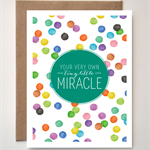 TINY LITTLE MIRACLE - Unisex Baby arrival greeting card -water colour dots spots