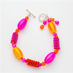 Fuchsia and Tangerine Bracelet with Silver Toggle