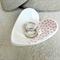 Pink & White dots porcelain heart, wedding ring dish, Candle holder. Ceramic.