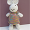 Emily the Knitted Bunny Rabbit Toy with lovely Rainbow Party