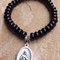 Bracelet for Mothers, Black Onyx, Saint Gerard Majella, Large Size