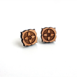 Boho Lotus Flower floral bohemian wood studs laser cut earrings