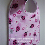 Handmade Personalised and Reversible Baby Bib -  Ladybird