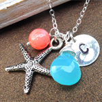 Personalized Starfish Necklace - Aqua Peruvian Chalcedony And Coral Necklace