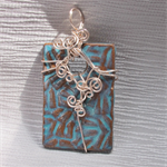Wirewrapped Handcrafted Ceramic Rectangular Pendant
