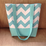 Aqua Chevron Tote Bag