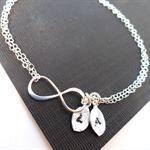 Personalized Silver Infinity Bracelet. Initial Jewelry, Monogrammed Jewelry