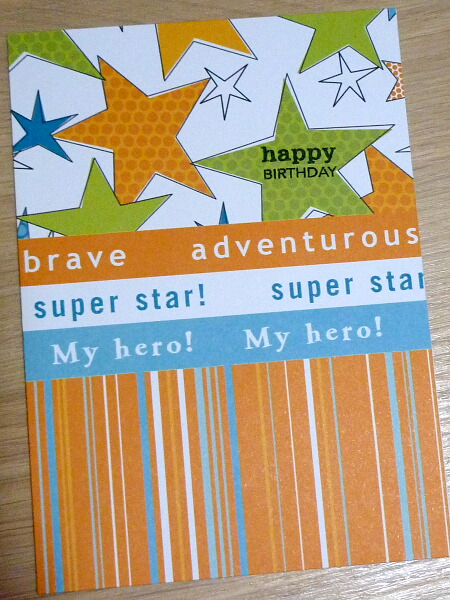 Happy Birthday card with green and orange stars - Dad, male, kids, boy,