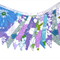 RETRO Vintage Purple / Blue Green Flower Power Flag Bunting. Party, Decoration
