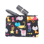 Mini Wet Bag Pouch with Waterproof Lining - Black Cat