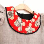 Sz2/Antique Bunny 100% Linen A-line dress / Red