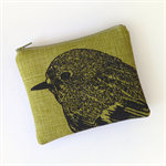 Green screen printed robin purse