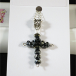 Dark Grey Crystal Cross Easter Pendant Handmade Original OOAK by Top Shelf