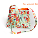 Pretty Mint/Orange Floral Hobo Style Handbag