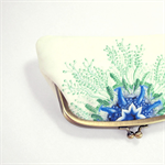 Double coin purse / Sea flower / two compartments purse/ sea blue/