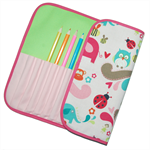 Pencil Roll - Pink Animals