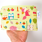 Mini Wet Bag Pouch with Waterproof Lining - Woodland Forest Animals in Green