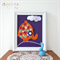 Elephant Artwork, children wall hanging, Baby art picture, Canvas 25 x 20 cm