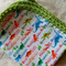 Cotton Dinosaur Print Baby Wrap with Crochet Edging. Bunny Rug.