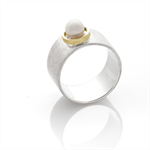 Silver ring featuring a freshwater pearl with an 9ct yellow gold frame