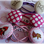 Hair Band Set 3 Pairs. Fabric Button. Red Riding Hood, Wolf, Spots, Crowns