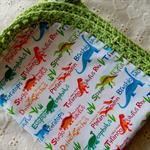 Cotton Dinosaur Print Baby Wrap with Crochet Edging. Bunny Rug.