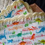 Dinosaur Cotton Baby Wrap with Crochet Edging.
